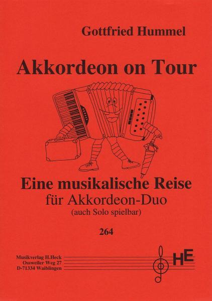 Akkordeon on Tour, Gottfried Hummel, Akkordeon-Duo, Akkordeon-Solo, Duo-Band, Spielheft, leicht-mittelschwer, Akkordeon Noten